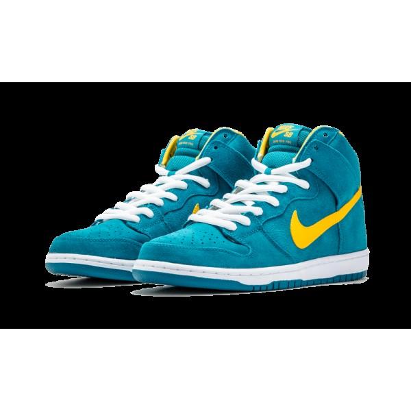 Nike DUNK HIGH PRO SB Tropical Teal Université Or 305050-371 Chaussures de Homme
