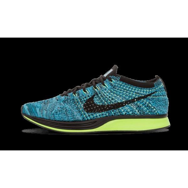 Nike Flyknit Racer Bleu Lagoon/Noir/Polarized Bleu...