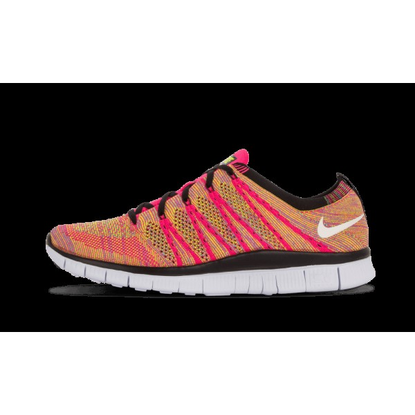 Nike Free Flyknit NSW Rose Flash/Blanche/Volt/Bleu...