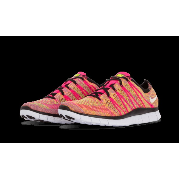 Nike Free Flyknit NSW Rose Flash/Blanche/Volt/Bleu Glow Lightweight 599459-600