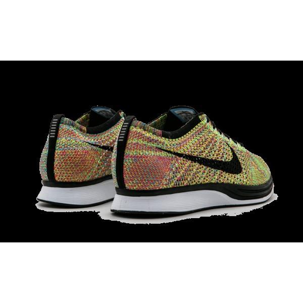 Nike Flyknit Racer Gris foncé/Noir/Bleu/Rose Glow/Flash 526628-004