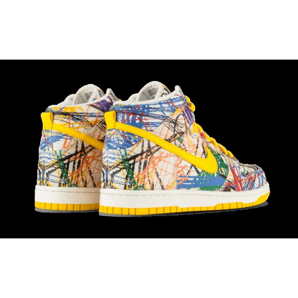 Nike Dunk High Premium Quickstrike Scribble Blanche/Varsity Maize 728443-100
