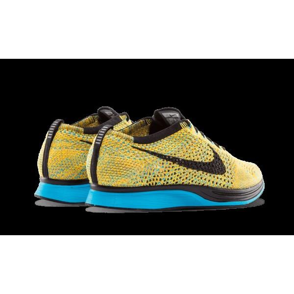 Nike Flyknit Racer Bright Citrus/Bleu Lagoon/Laser Orange/Noir 526628-800