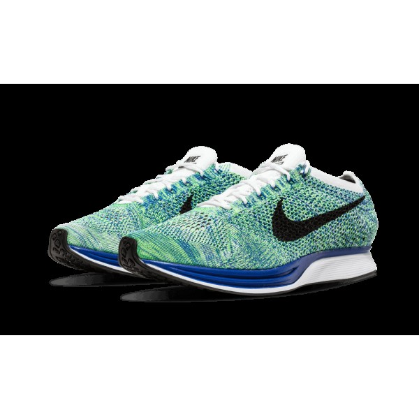 Nike Flyknit Racer Chaussures de running pour Homme Blanche Game Royal Vert Noir 526628-104