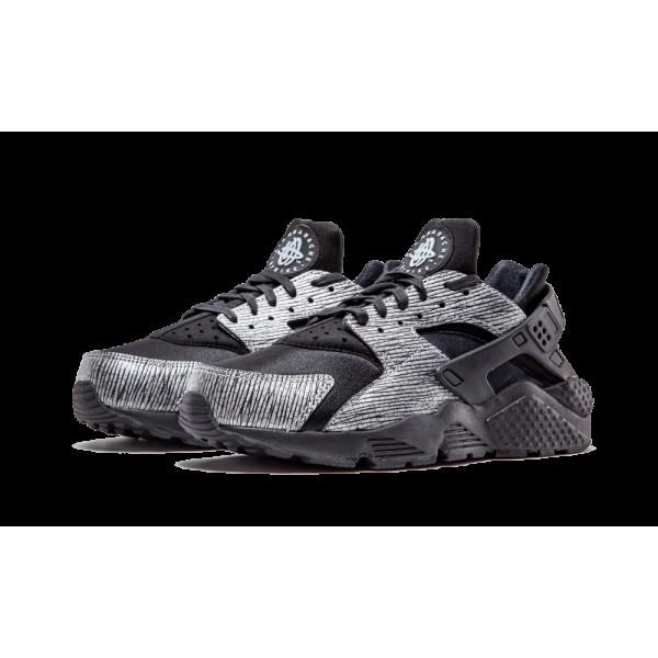 Nike Femme Huarache Run PRM Noir/Argent Chaussures de running 683818 003