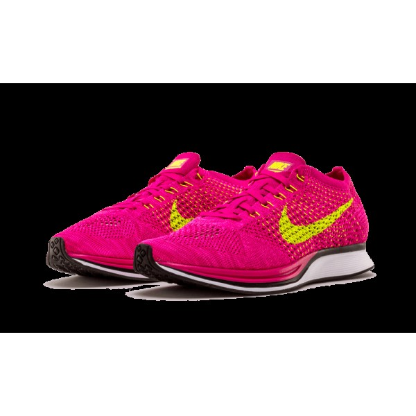 Nike Flyknit Racer 526628-607 Fireberry/Flash rose/Volt Chaussures de running pour Homme