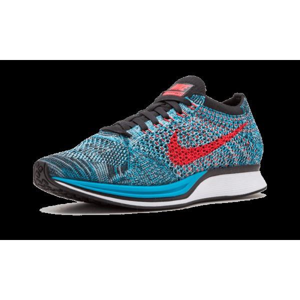 Nike Flyknit Racer Neo Turquoise Bright Crimson 526628-404