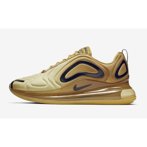 Nike Air Max 720 Gold Noir Lifestyle Shoes AO2924-...