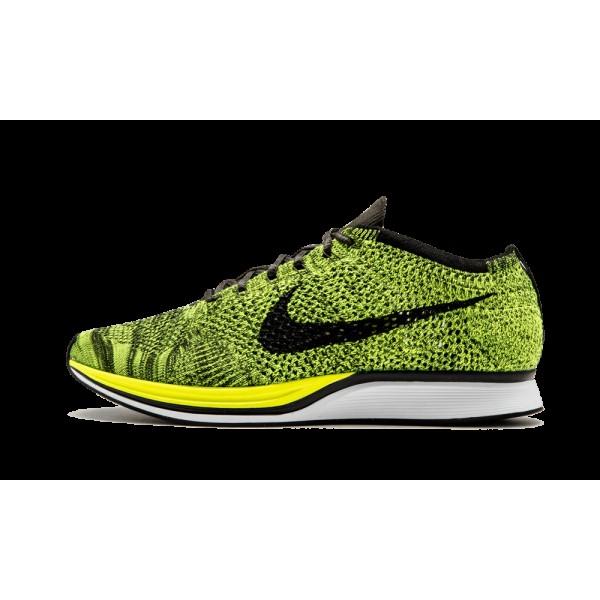 Nike Flyknit Racer Volt/Noir Running Racing Chauss...