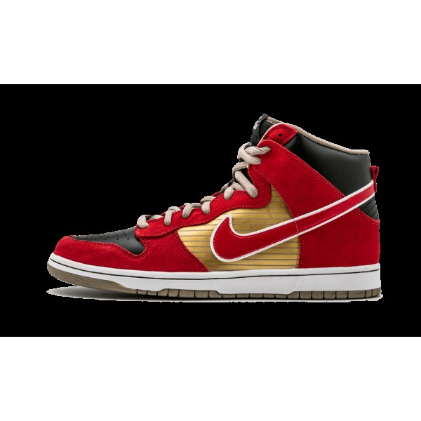 Nike Dunk High Pro SB Or métallique Sport Rouge N...