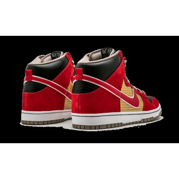Nike Dunk High Pro SB Or métallique Sport Rouge Noir 305050-701