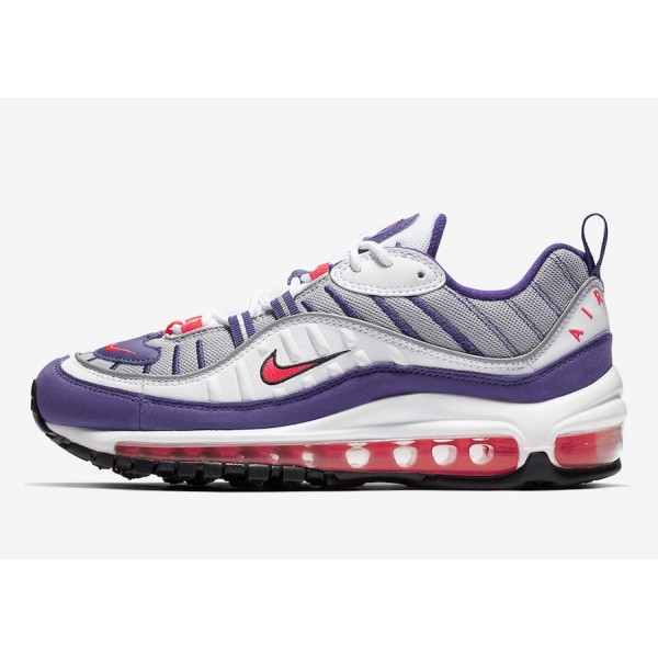 Nike Air Max 98 Blanche Racer Rose Argent Chaussur...
