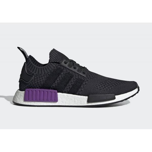 adidas NMD R1 Core Black/Core Black-Purple Shoes G...