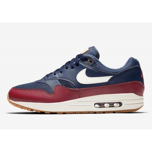 Nike Air Max 1 Premium Bleu Rouge Chaussures Homme...