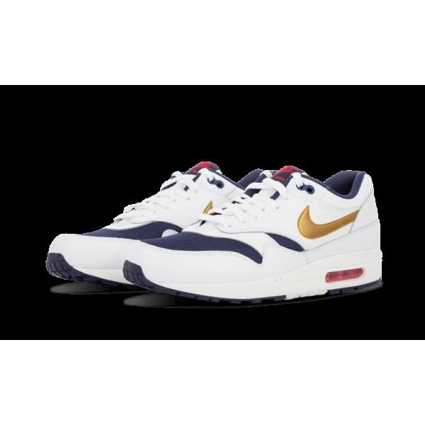 Nike Air Max 1 Essential Chaussure de Homme 537383-127 Blanche Or métallique Marine