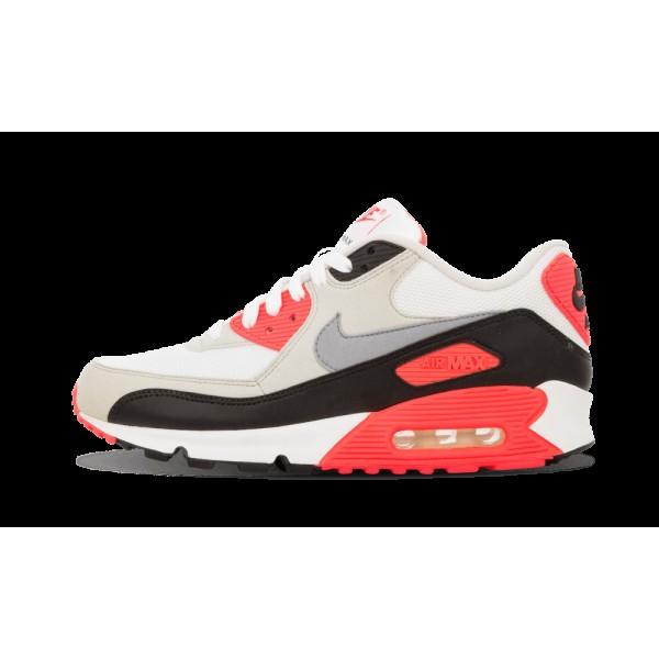 Nike Air Max 90 Blanche/Cement Gris/Infrared/Noir ...