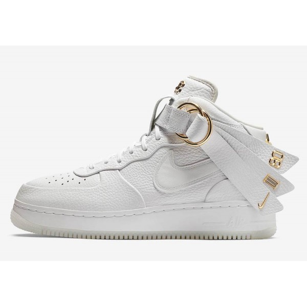 Nike Air Force 1 Mid Victor Cruz Blanche Gold Chau...
