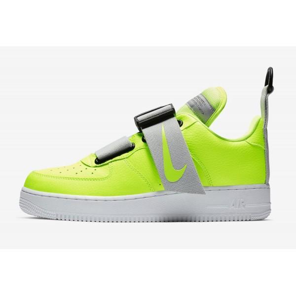Nike Air Force 1 Utility Volt Noir Blanche Chaussu...