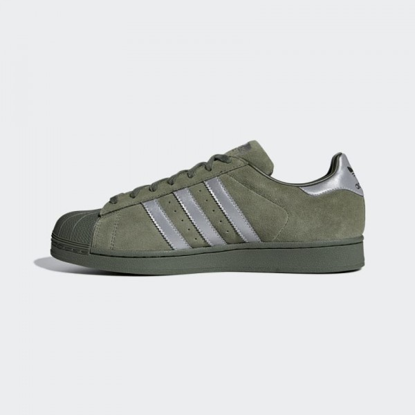 Homme Adidas Superstar Casual Shoes Base Vert/Noir...