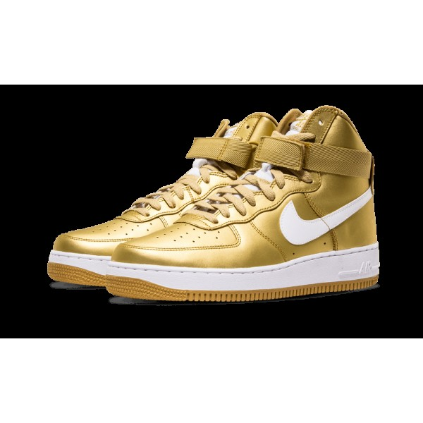 Nike Air Force 1 Af1 Hi Retro 823297-700 Or métallique Blanche