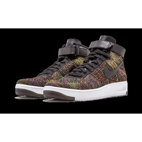 Nike AF1 Ultra Flyknit Mid Chaussures de Homme Noir/Bright Crimson/Court Pourpre/Volt 817420-002