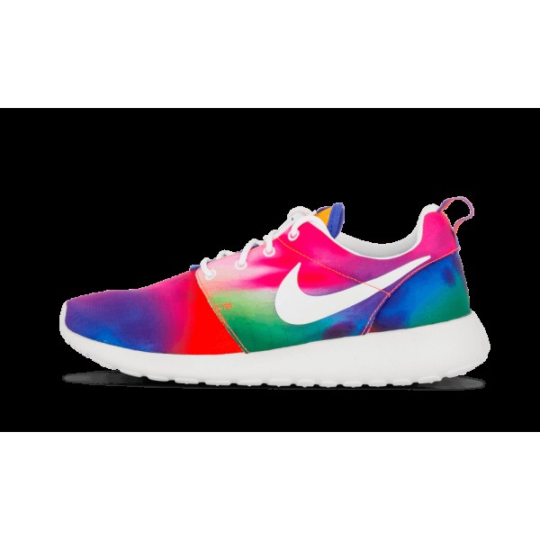 Nike Roshe Run Print Court Pourpre/Blanche Total C...
